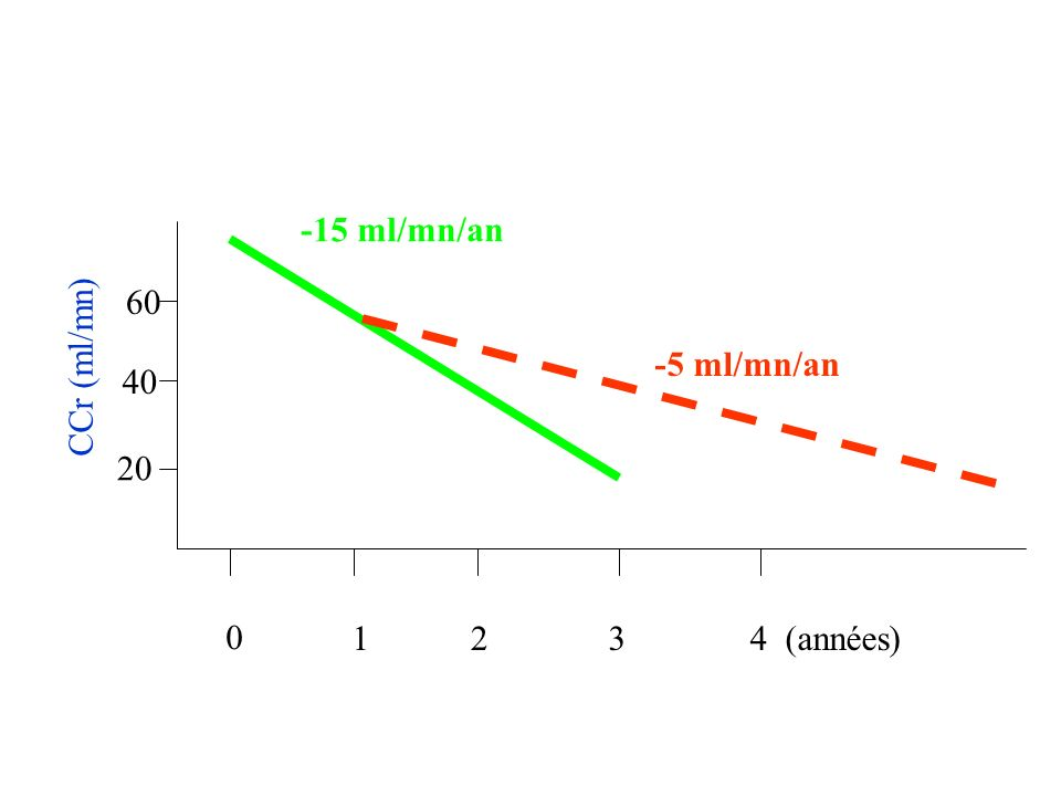 -15 ml/mn/an 60 CCr (ml/mn) -5 ml/mn/an 40 20 1 2 3 4 (années)