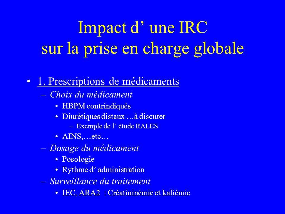 Impact d' une IRC sur la prise en charge globale