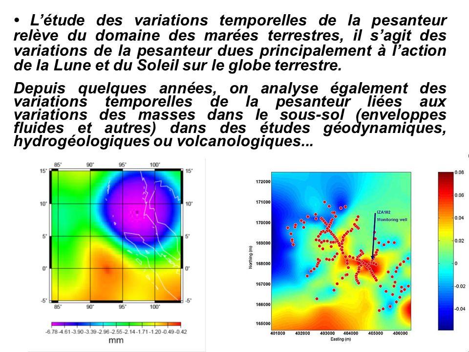 • L'étude des variations temporelles de la pesanteur relève du domaine des marées terrestres, il s'agit des variations de la pesanteur dues principalement à l'action de la Lune et du Soleil sur le globe terrestre.