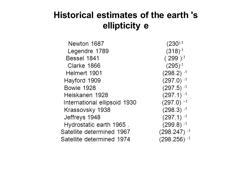 Historical estimates of the earth s ellipticity e