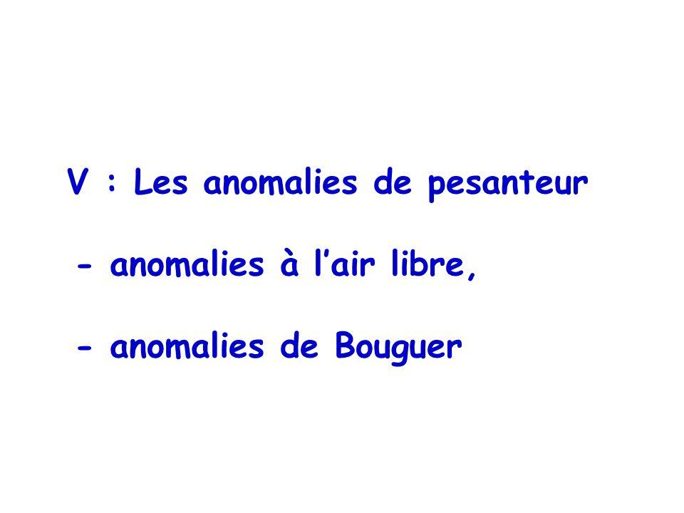 - anomalies à l'air libre, - anomalies de Bouguer
