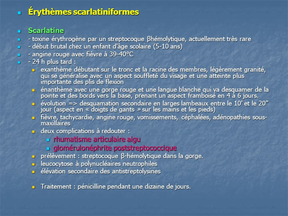 Érythèmes scarlatiniformes