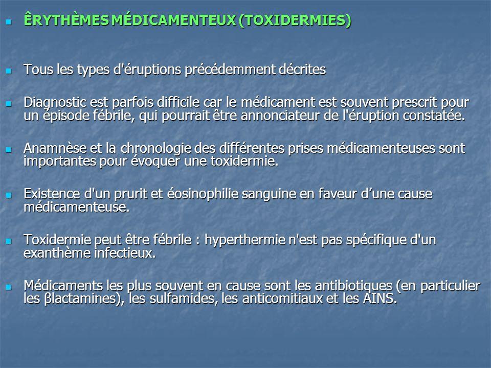ÊRYTHÈMES MÉDICAMENTEUX (TOXIDERMIES)