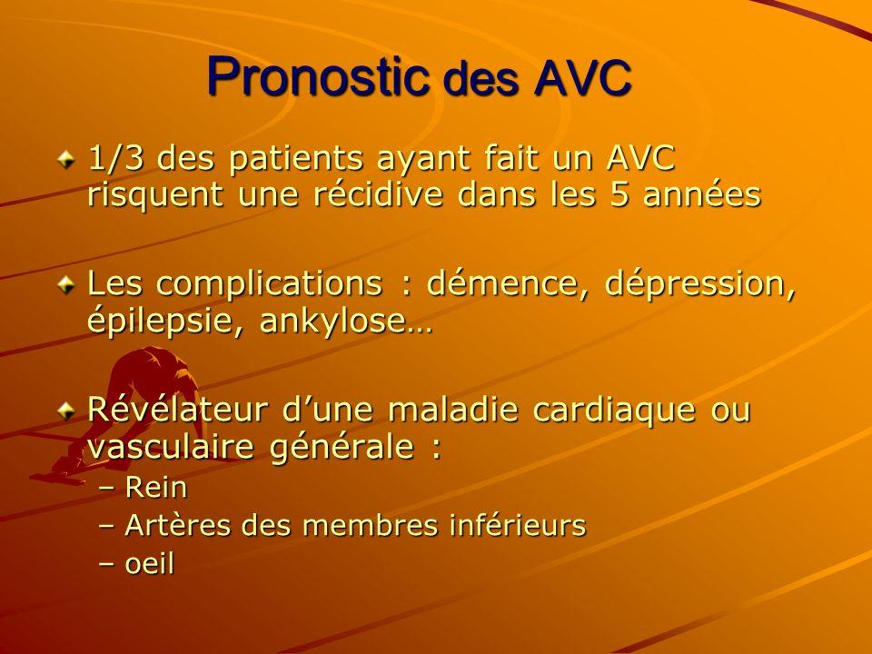 Pronostic des AVC 1/3 des patients ayant fait un AVC risquent une récidive dans les 5 années.