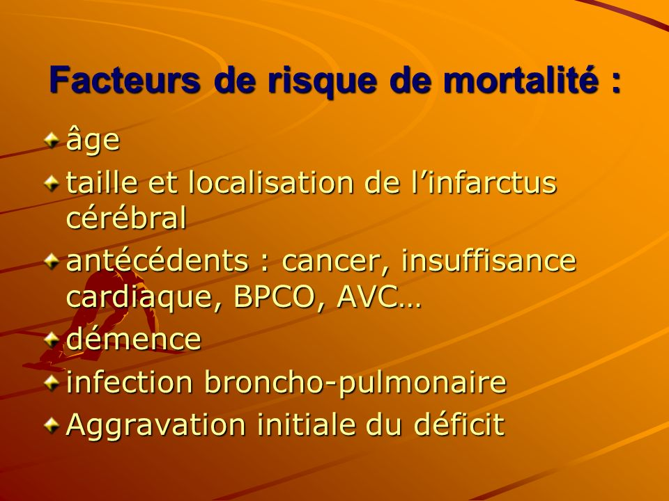 Facteurs de risque de mortalité :