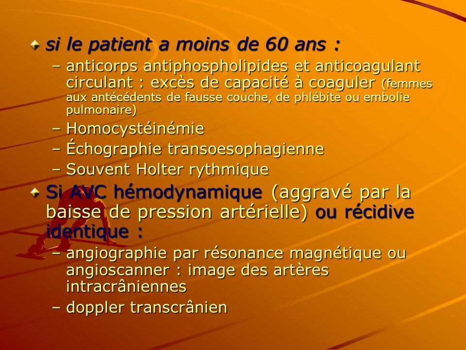 si le patient a moins de 60 ans :