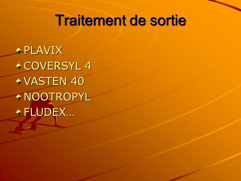 Traitement de sortie PLAVIX COVERSYL 4 VASTEN 40 NOOTROPYL FLUDEX…