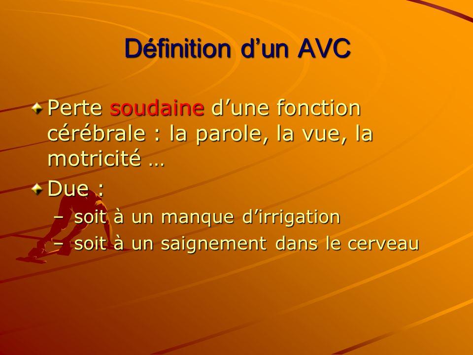 Définition d'un AVC Perte soudaine d'une fonction cérébrale : la parole, la vue, la motricité … Due :