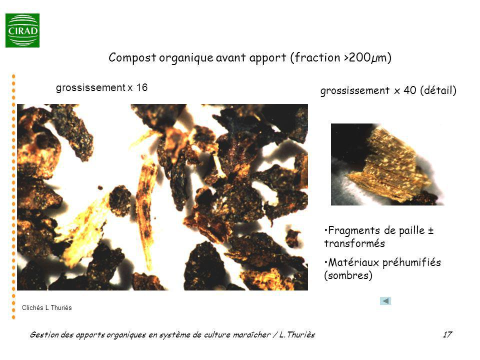 Compost organique avant apport (fraction >200µm)