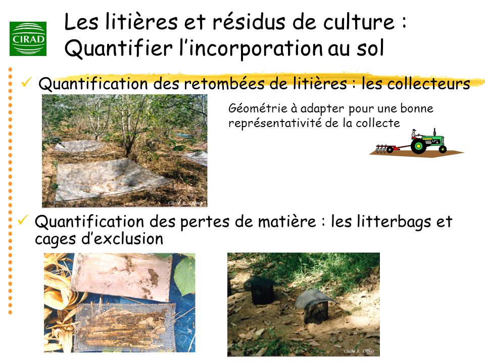 Les litières et résidus de culture : Quantifier l'incorporation au sol