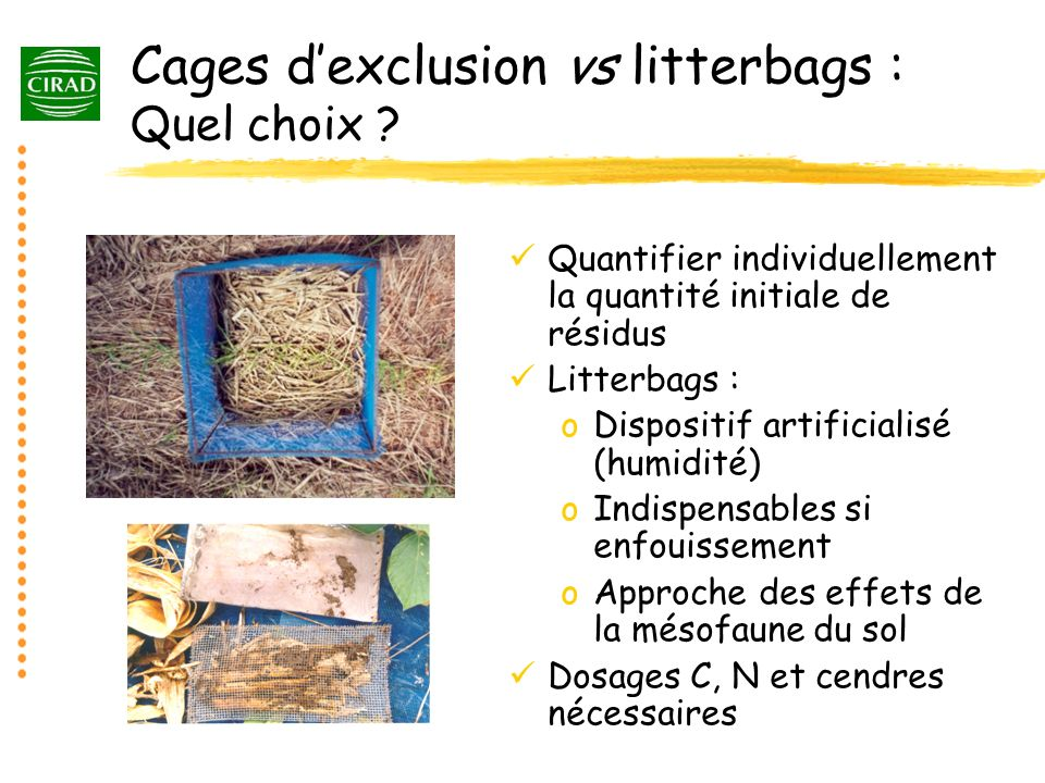 Cages d'exclusion vs litterbags : Quel choix
