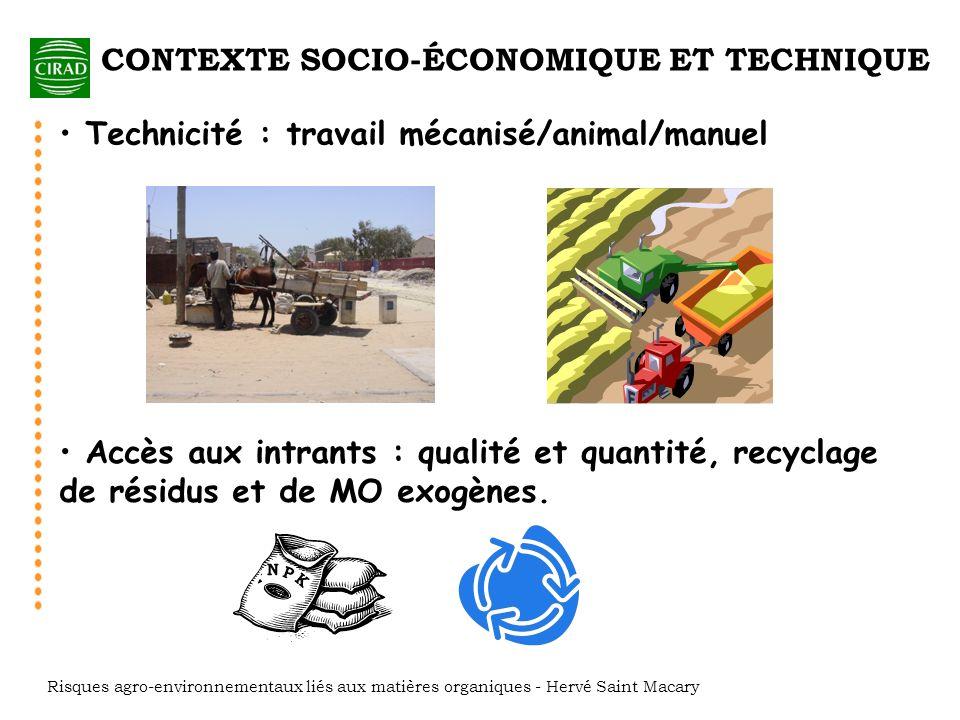 CONTEXTE SOCIO-ÉCONOMIQUE ET TECHNIQUE