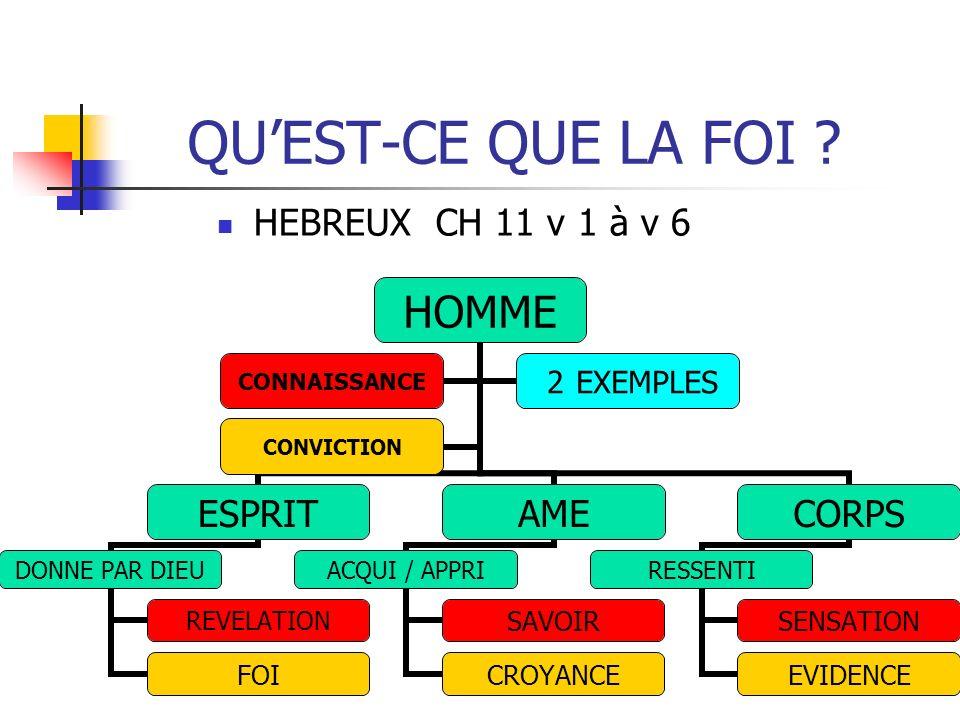 QU'EST-CE QUE LA FOI HEBREUX CH 11 v 1 à v 6