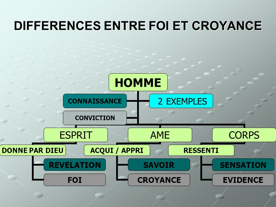 DIFFERENCES ENTRE FOI ET CROYANCE