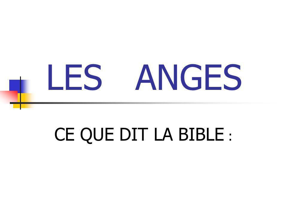LES ANGES CE QUE DIT LA BIBLE :
