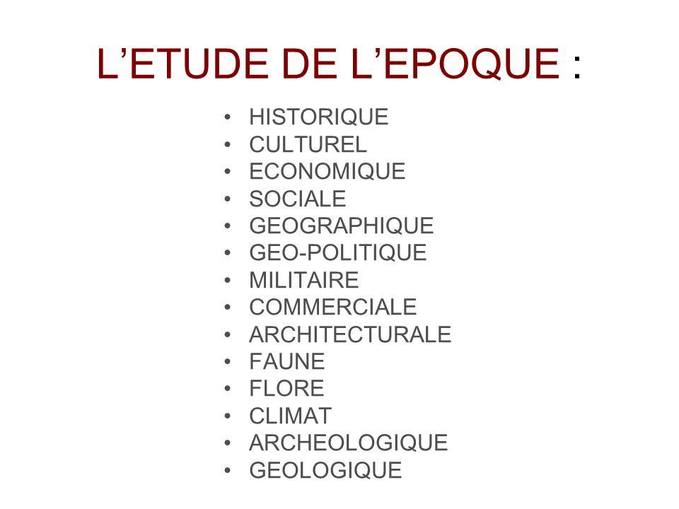 L'ETUDE DE L'EPOQUE : HISTORIQUE CULTUREL ECONOMIQUE SOCIALE