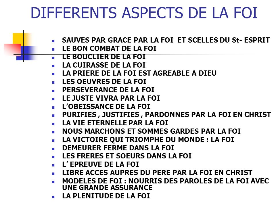 DIFFERENTS ASPECTS DE LA FOI