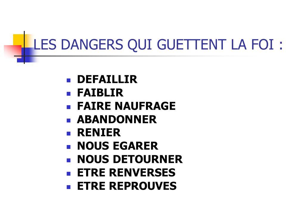 LES DANGERS QUI GUETTENT LA FOI :