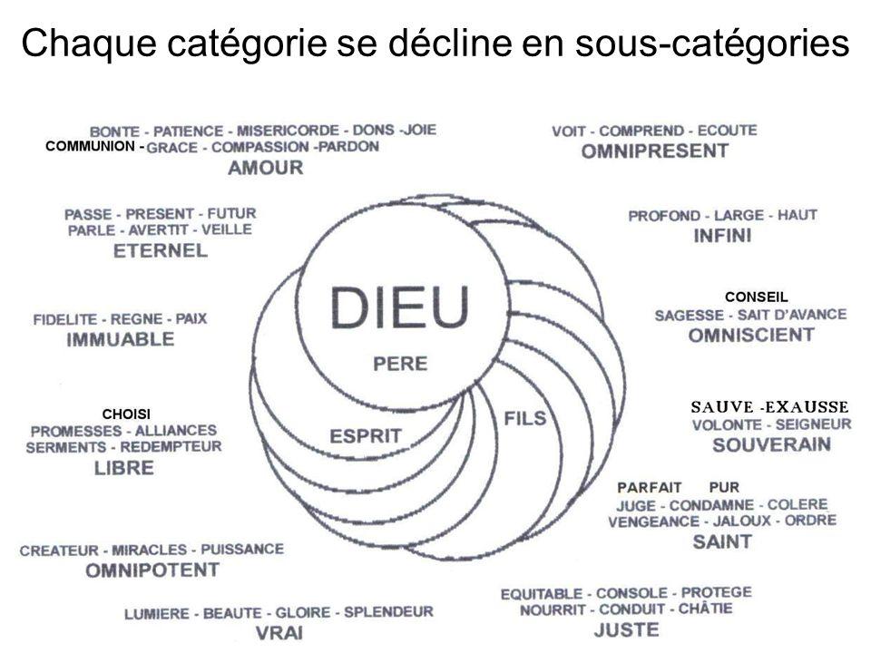 Chaque catégorie se décline en sous-catégories