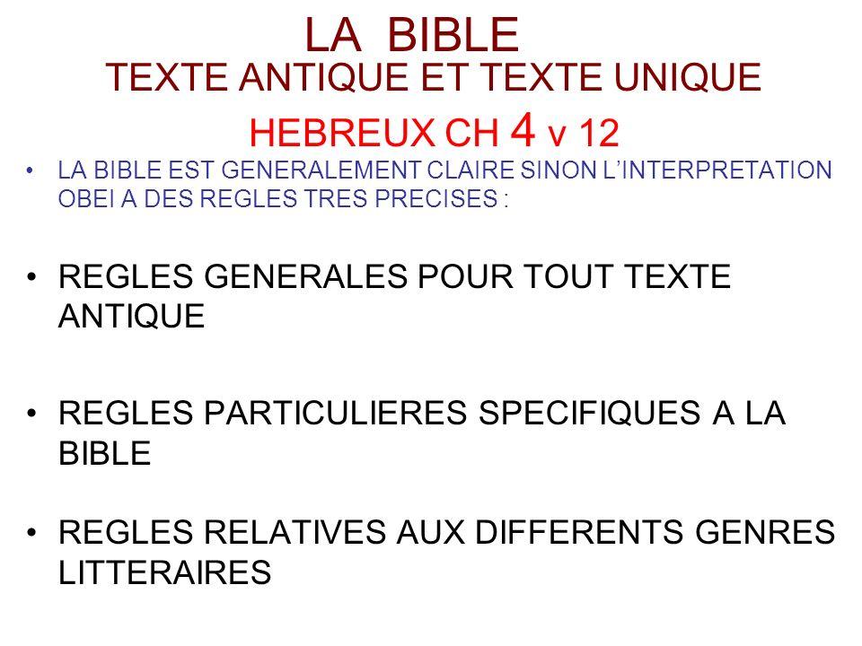 TEXTE ANTIQUE ET TEXTE UNIQUE HEBREUX CH 4 v 12