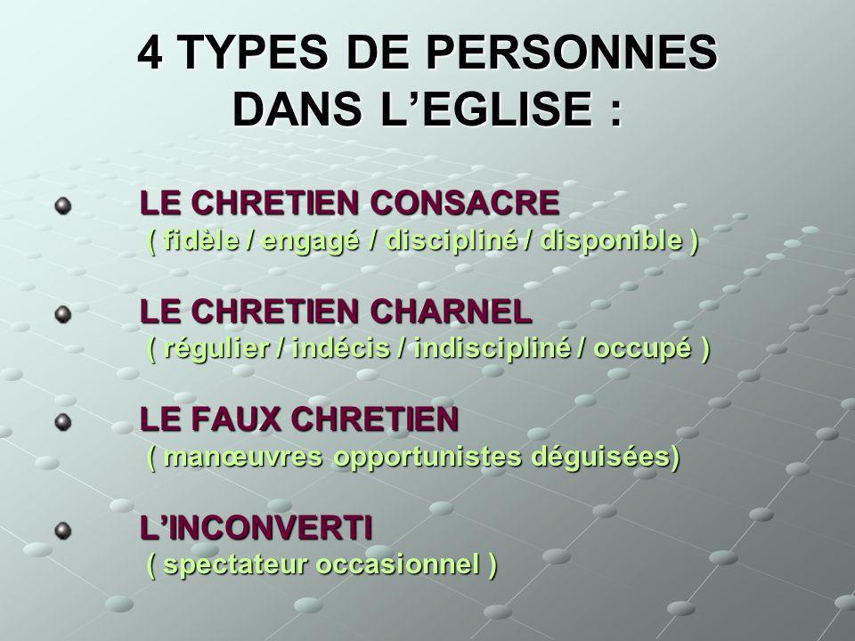 4 TYPES DE PERSONNES DANS L'EGLISE :
