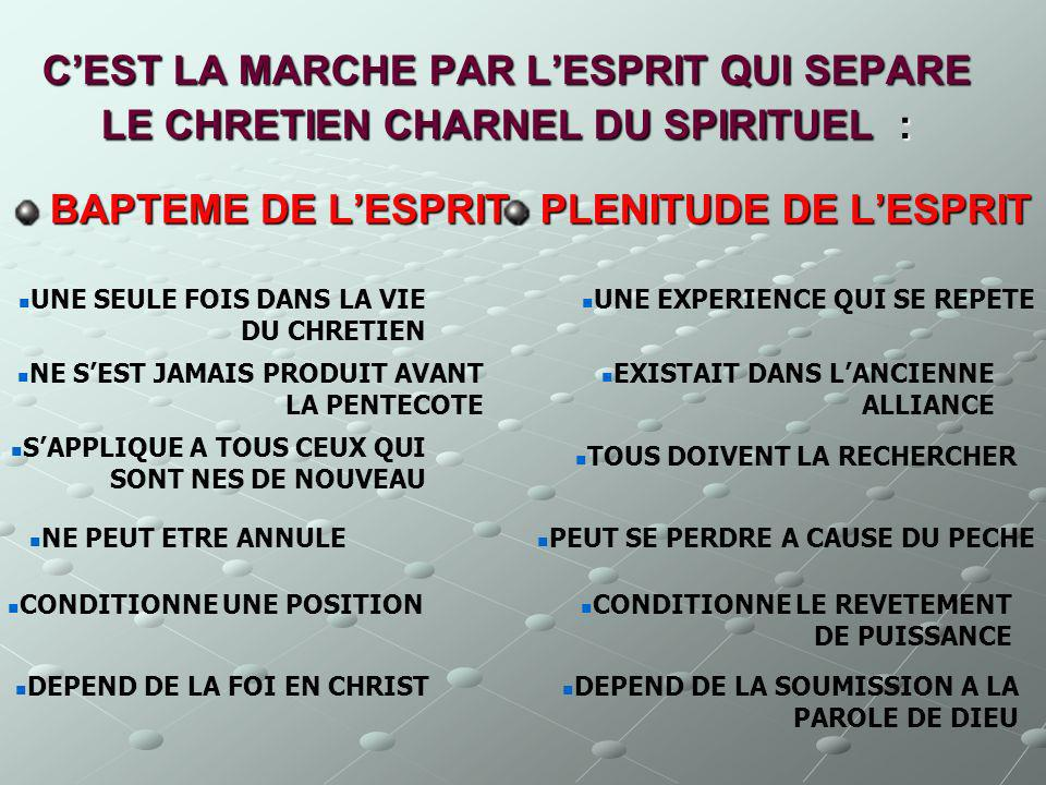 C'EST LA MARCHE PAR L'ESPRIT QUI SEPARE LE CHRETIEN CHARNEL DU SPIRITUEL :