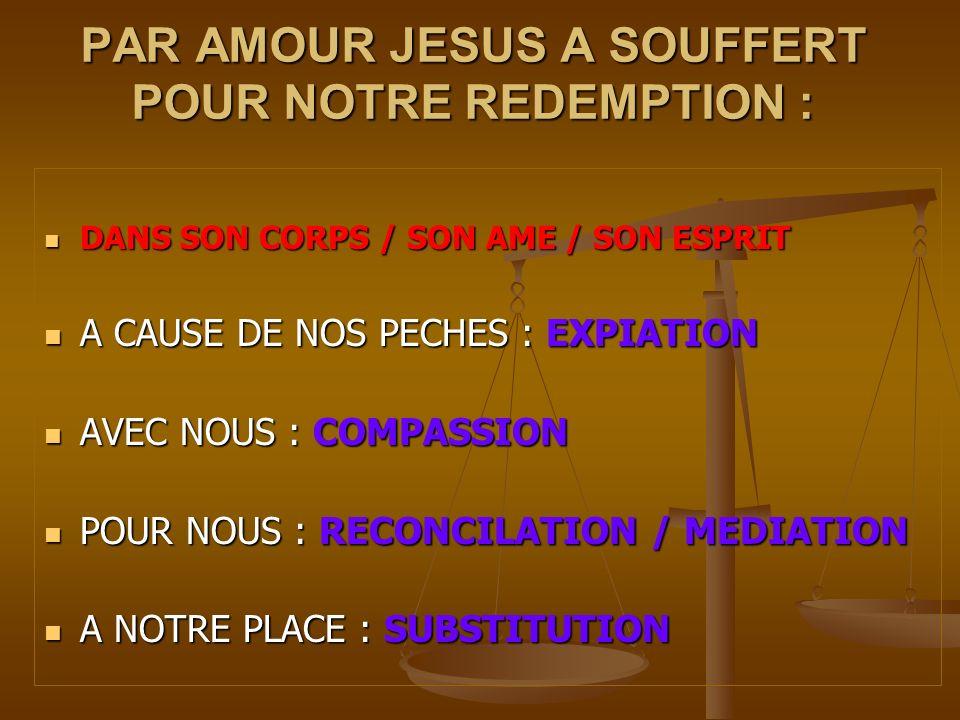 PAR AMOUR JESUS A SOUFFERT POUR NOTRE REDEMPTION :