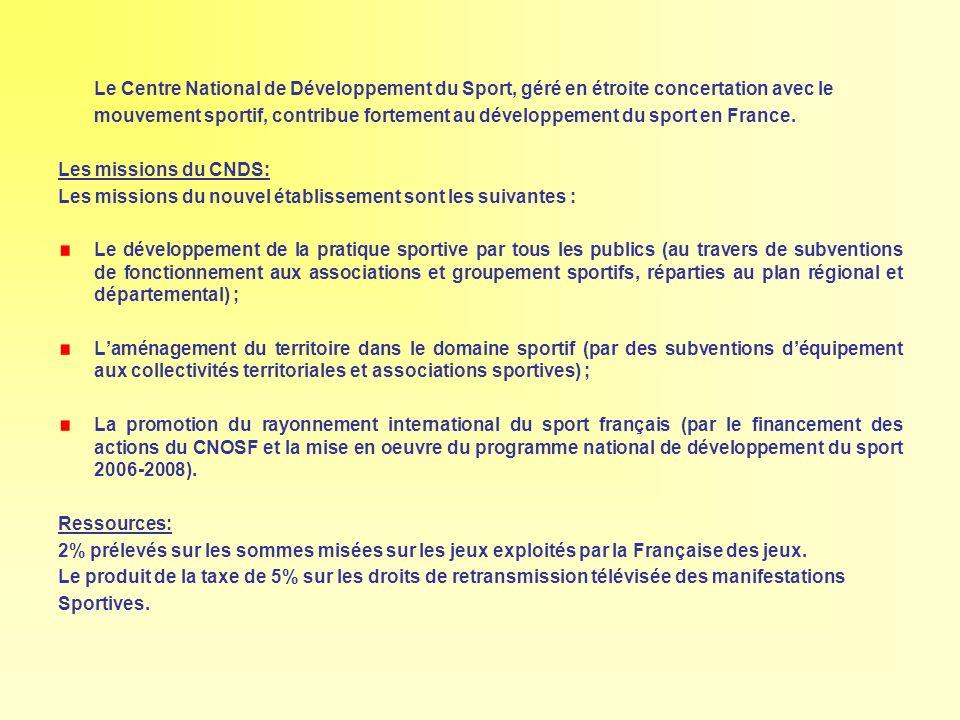 Le Centre National de Développement du Sport, géré en étroite concertation avec le