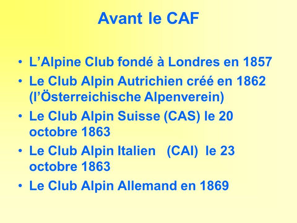 Avant le CAF L'Alpine Club fondé à Londres en 1857