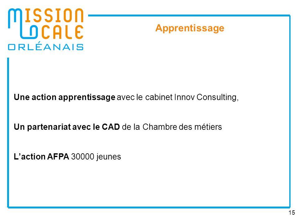 Apprentissage Une action apprentissage avec le cabinet Innov Consulting, Un partenariat avec le CAD de la Chambre des métiers.