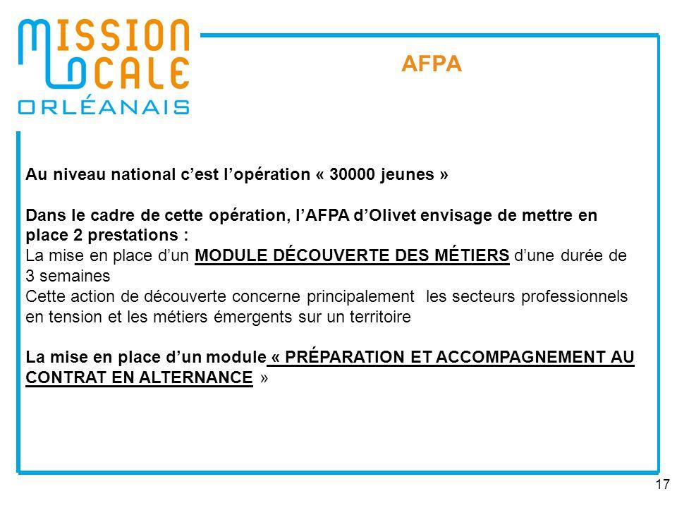 AFPA Au niveau national c'est l'opération « 30000 jeunes »