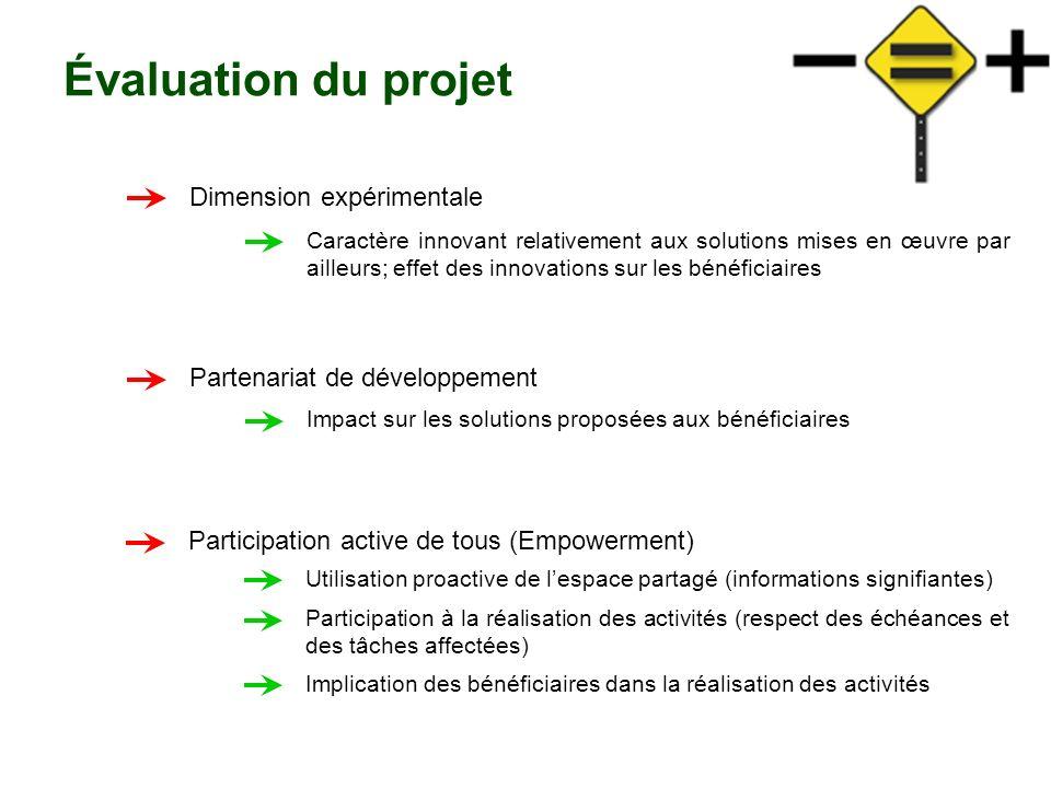 Évaluation du projet Dimension expérimentale