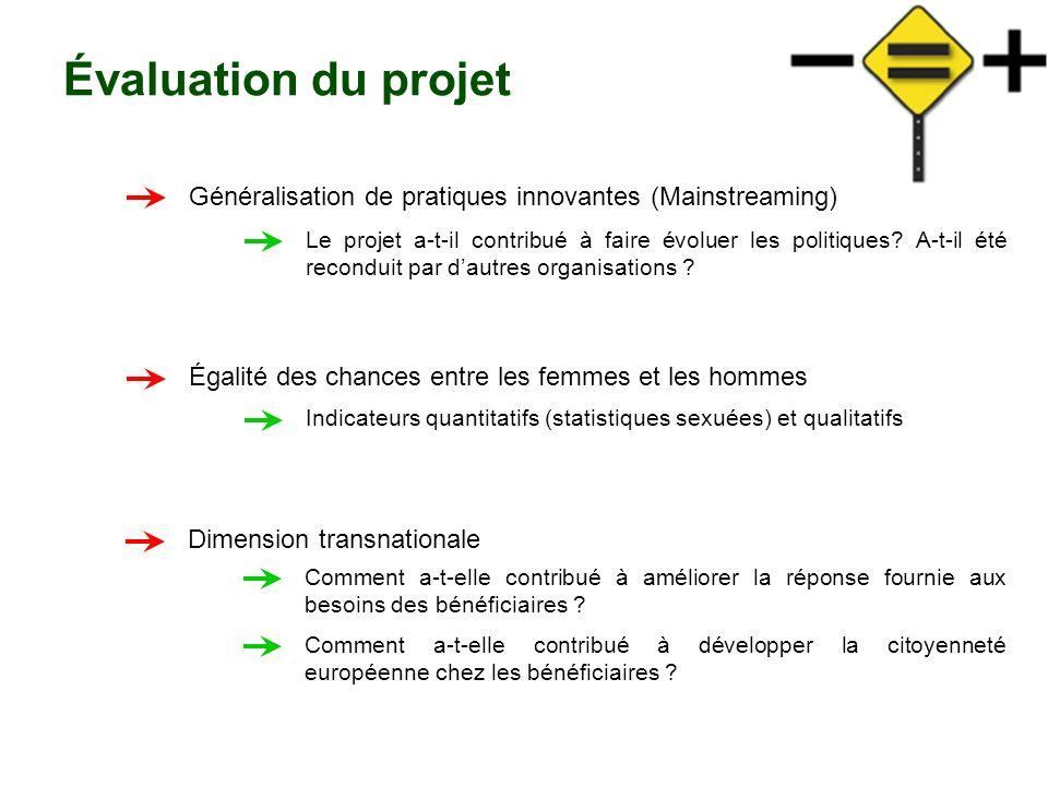 Évaluation du projet Généralisation de pratiques innovantes (Mainstreaming)