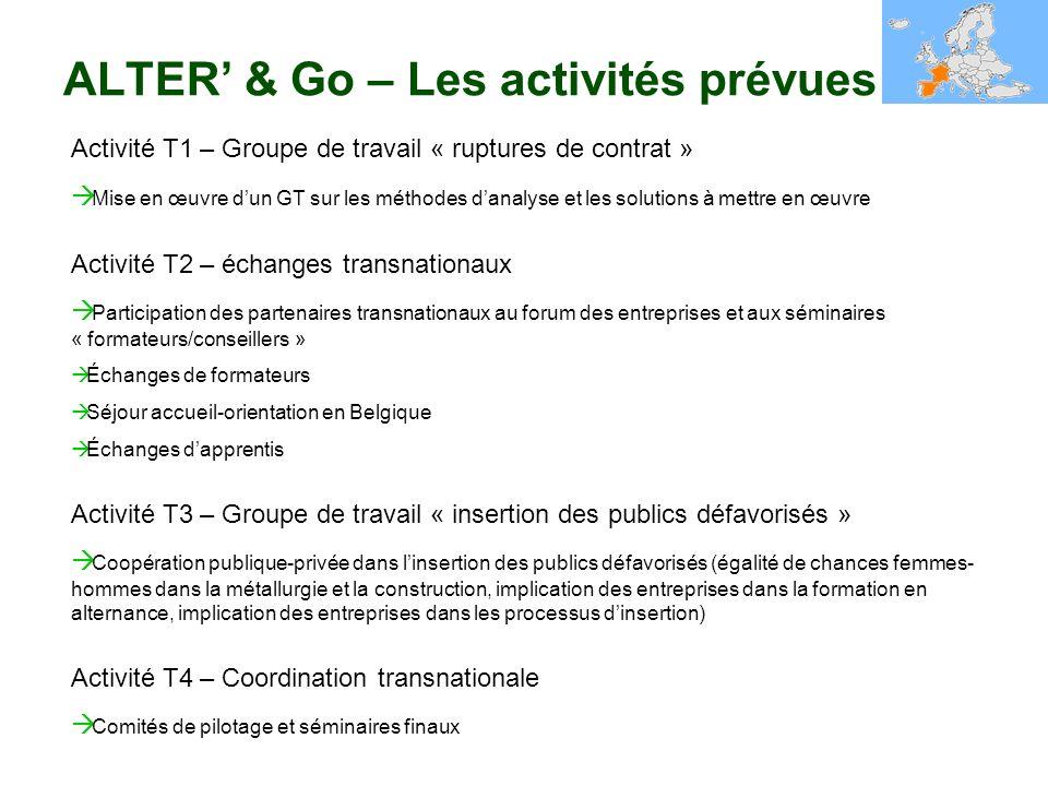 ALTER' & Go – Les activités prévues