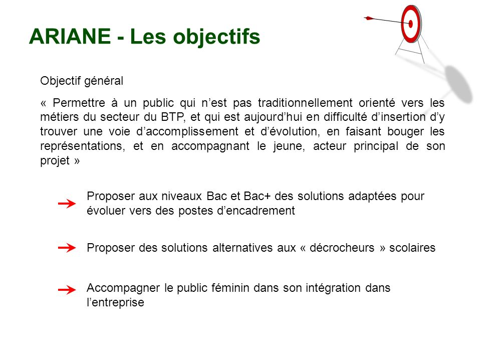 ARIANE - Les objectifs Objectif général
