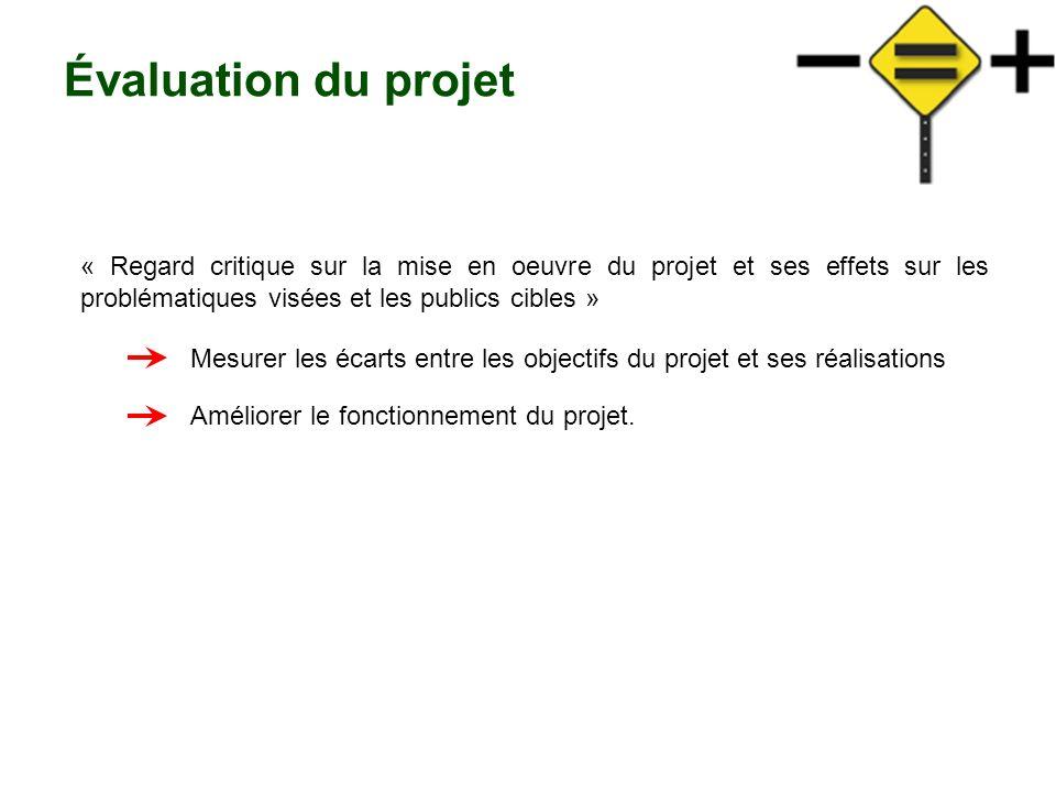 Évaluation du projet « Regard critique sur la mise en oeuvre du projet et ses effets sur les problématiques visées et les publics cibles »