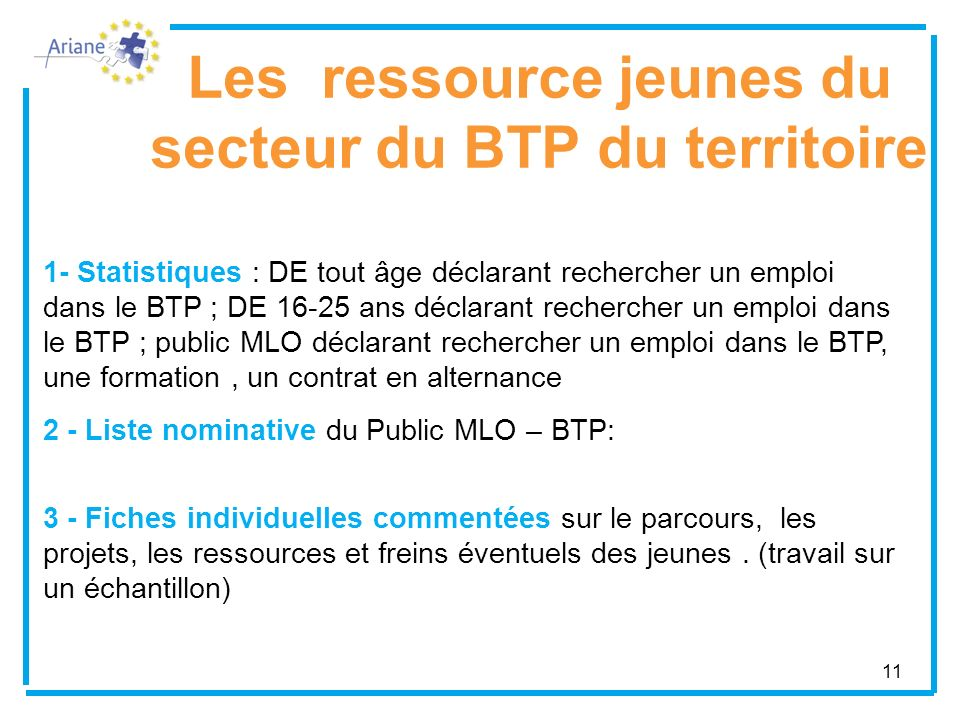 Les ressource jeunes du secteur du BTP du territoire