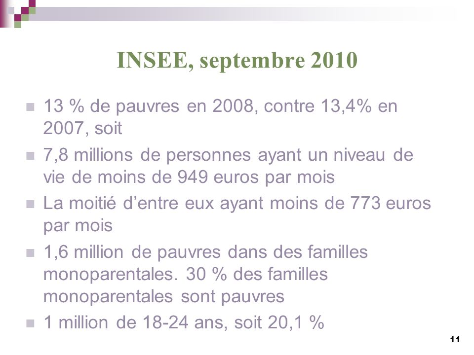 INSEE, septembre 2010 13 % de pauvres en 2008, contre 13,4% en 2007, soit.