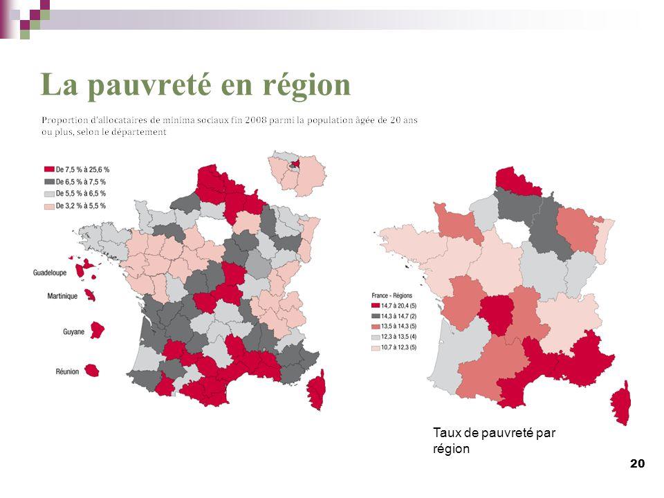 La pauvreté en région Taux de pauvreté par région