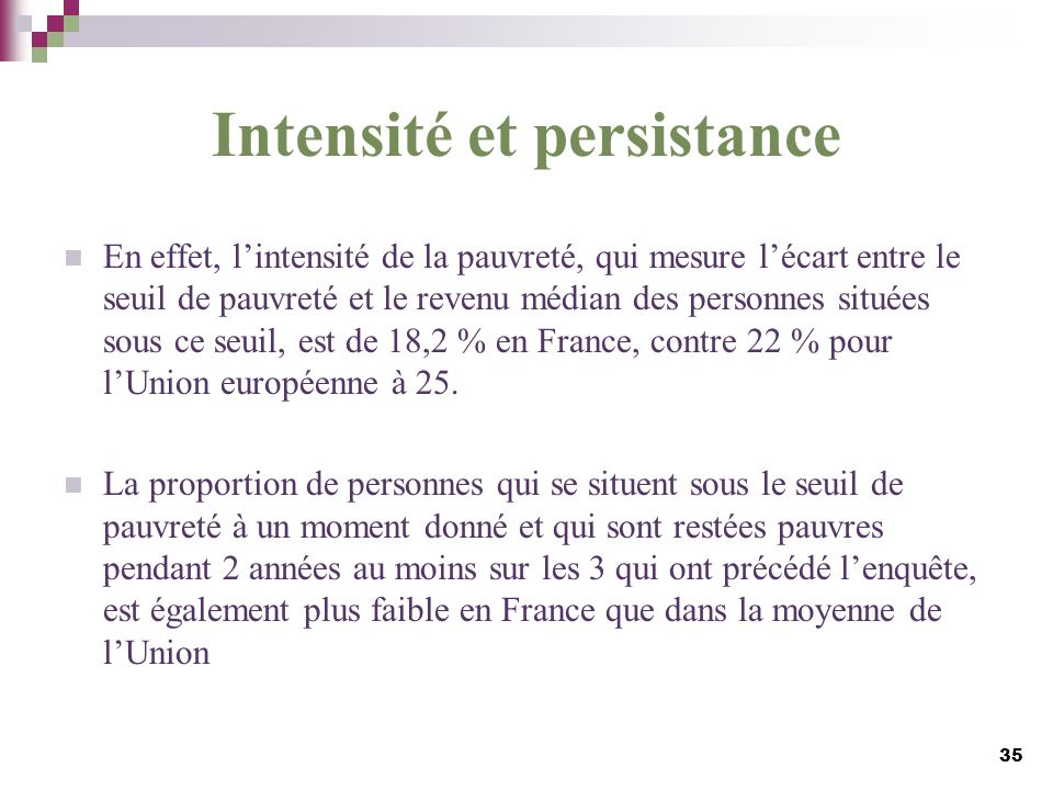 Intensité et persistance