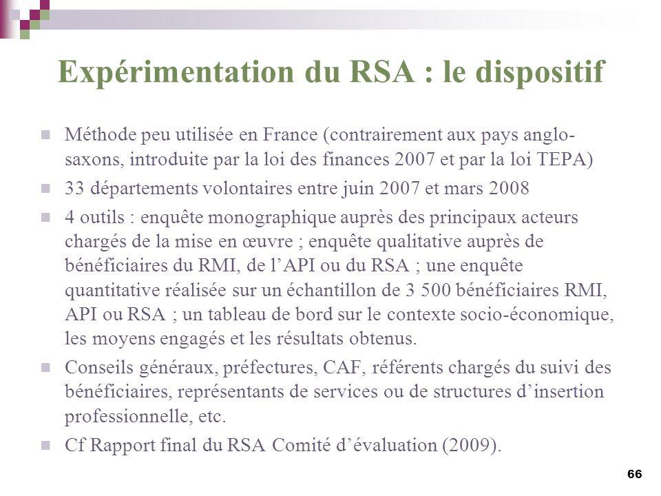 Expérimentation du RSA : le dispositif