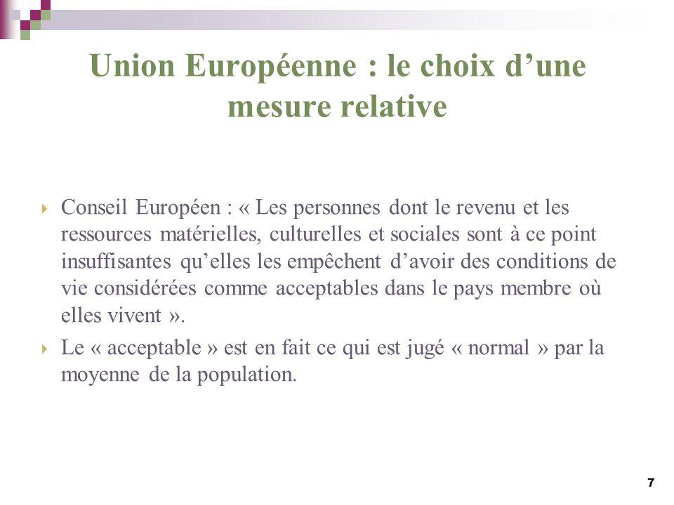 Union Européenne : le choix d'une mesure relative