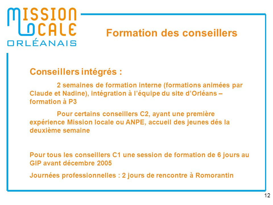 Formation des conseillers