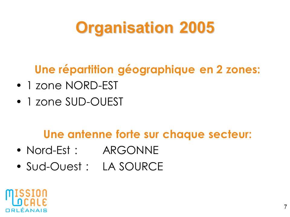 Organisation 2005 Une répartition géographique en 2 zones: