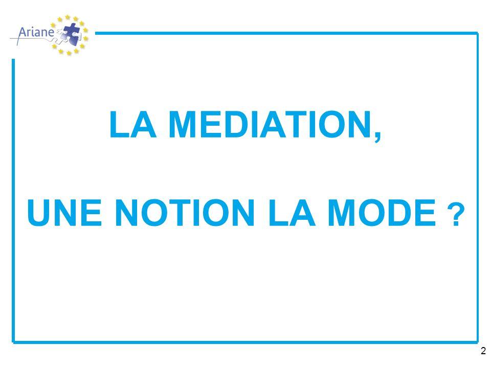 LA MEDIATION, UNE NOTION LA MODE