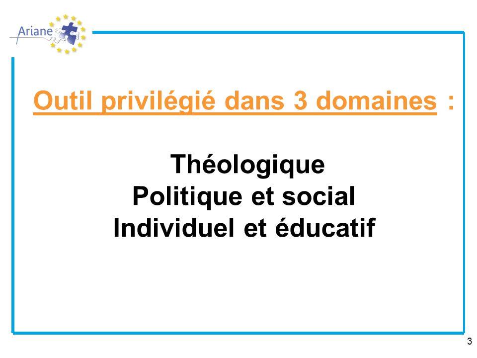 Outil privilégié dans 3 domaines : Théologique Politique et social Individuel et éducatif