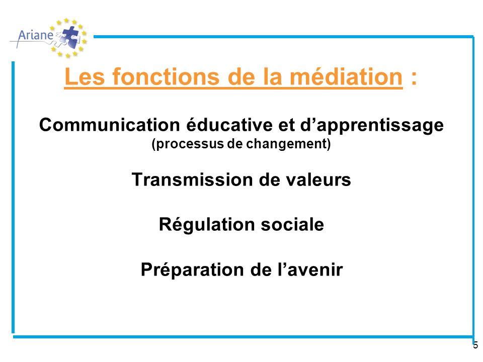 Les fonctions de la médiation : Communication éducative et d'apprentissage (processus de changement) Transmission de valeurs Régulation sociale Préparation de l'avenir