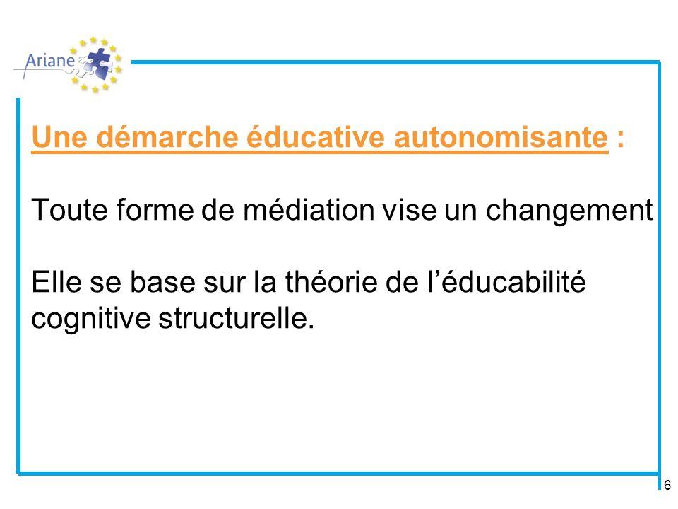 Une démarche éducative autonomisante : Toute forme de médiation vise un changement Elle se base sur la théorie de l'éducabilité cognitive structurelle.