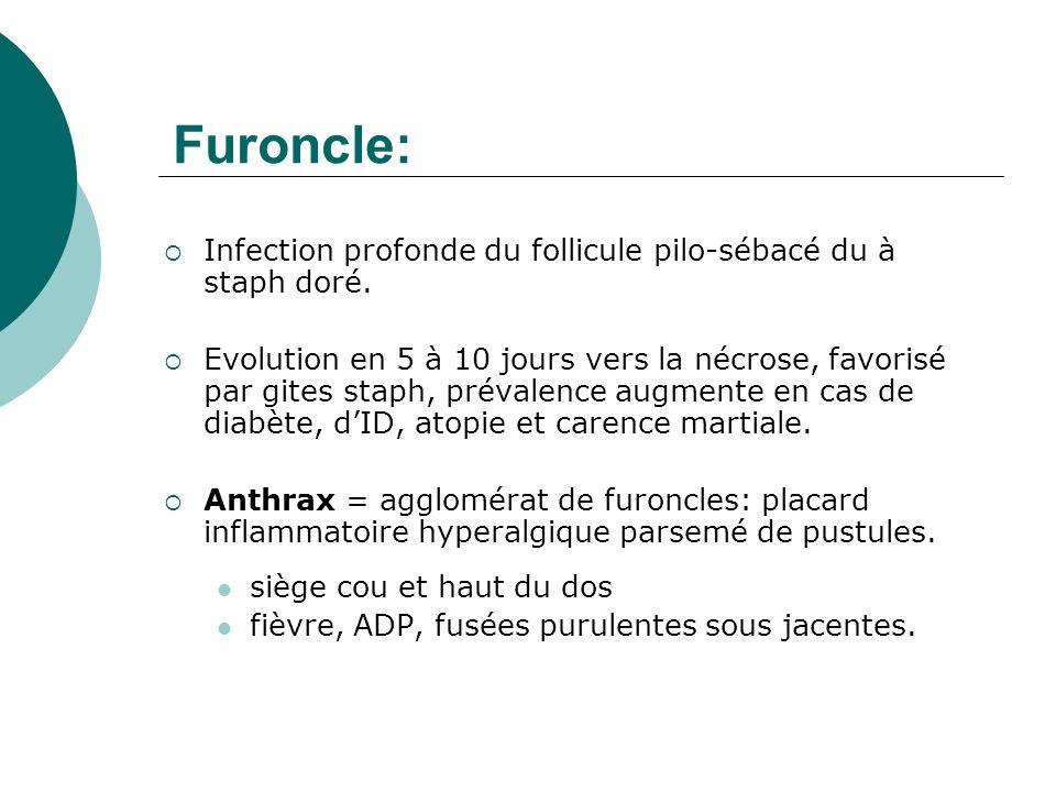 Furoncle: Infection profonde du follicule pilo-sébacé du à staph doré.