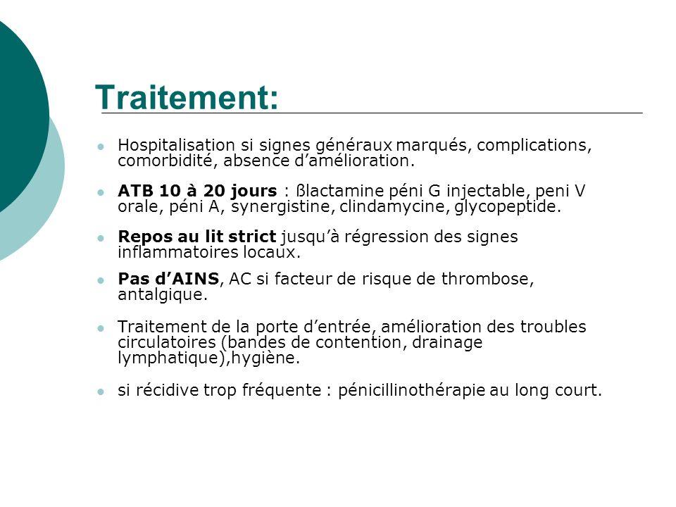 Traitement: Hospitalisation si signes généraux marqués, complications, comorbidité, absence d'amélioration.
